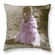 Woman At The Beach Throw Pillow