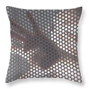 Woman Behind A Metal Mesh Throw Pillow
