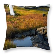 Woman By Boat On Grassy Shore Throw Pillow