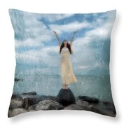 Woman By The Sea With Arms Reaching Up In Praise Throw Pillow