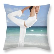 Woman Doing Yoga On The Beach Throw Pillow