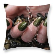Woman Hand With Fancy Nail Polish In Water Throw Pillow