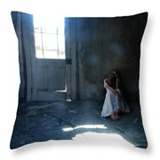 Woman Hiding In Abandoned Room Throw Pillow