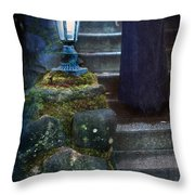 Woman In Dark Gown On Old Staircase Throw Pillow