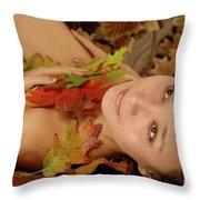 Woman In Fallen Leaves Throw Pillow