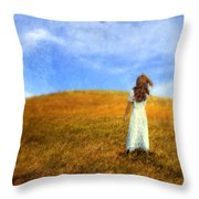Woman In Field Looking Up At An Airplane Throw Pillow