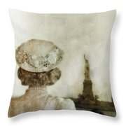Woman In Hat Viewing The Statue Of Liberty  Throw Pillow by Jill Battaglia