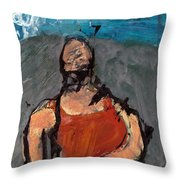 Woman In Landscape 1 Throw Pillow