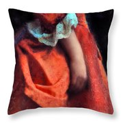 Woman In Red 18th Century Gown Throw Pillow