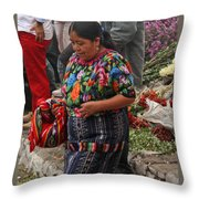 Woman In Traditional Guatemalan Dress Throw Pillow