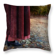 Woman In Vintage Clothing On Cobbled Street Throw Pillow