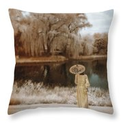 Woman In Vintage Dress With Parason By Lake Throw Pillow