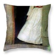 Woman In Vintage Victorian Era Dress In Doorway Throw Pillow
