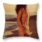 Woman In Wet Dress At The Beach Throw Pillow
