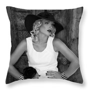 Woman In White  Bw Throw Pillow