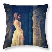 Woman In White In Doorway Throw Pillow
