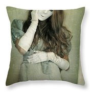 Woman In White Mask Wearing 1930s Dress Throw Pillow