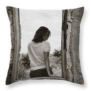 Woman In Window Throw Pillow