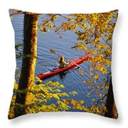 Woman Kayaking With Fall Foliage Throw Pillow