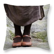 Woman Legs With Shoes Throw Pillow