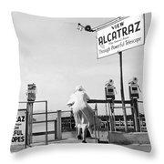 Woman Looking At Alcatraz Throw Pillow