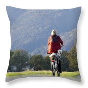 Woman On A Bicycle With Her Dog Throw Pillow