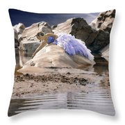 Woman On A Rock Throw Pillow