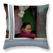 Woman On Bus Laos Throw Pillow