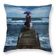 Woman On Dock In Storm Throw Pillow