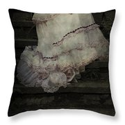 Woman On Steps Throw Pillow