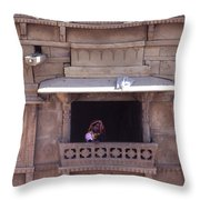 Woman On The Balcony Throw Pillow
