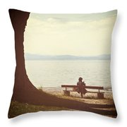 Woman On The Shore Of A Lake Throw Pillow