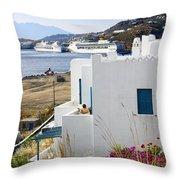 Woman On The Terrace - Mykonos Throw Pillow