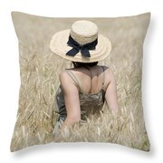 Woman On The Wheat Field Throw Pillow