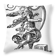 Woman Playing The Harp Throw Pillow