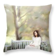 Woman Sitting On Park Bench Throw Pillow