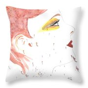 Woman Smile Watercolor Painting Throw Pillow