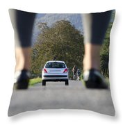 Woman Standing On A Road Throw Pillow