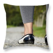 Woman Standing On A Stone Road Throw Pillow