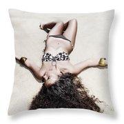 Woman Sunbathing Throw Pillow