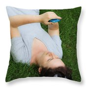 Woman Using Her Iphone Throw Pillow