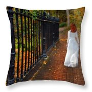 Woman Walking In Long White Gown Throw Pillow