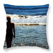 Woman Walking Into Ocean Surf  Throw Pillow