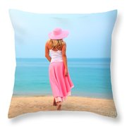 Woman Walking Throw Pillow