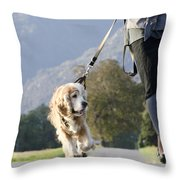 Woman Walking With Her Dog Throw Pillow
