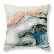 Woman Washing In The Bath Throw Pillow