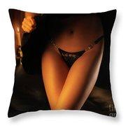 Woman Wearing Black Lacy Panties Throw Pillow