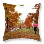 Woman With A Red Umbrella Throw Pillow