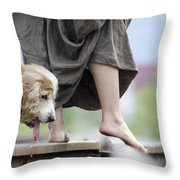 Woman With A Skirt And A Dog Throw Pillow