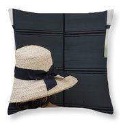 Woman With A Straw Hat Throw Pillow